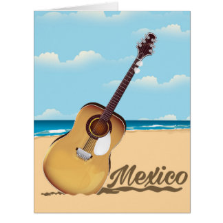 Guitar large greeting cards zazzle mexican guitar beach travel poster card m4hsunfo
