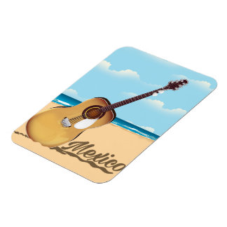 Mexican Guitar Beach travel poster Magnet