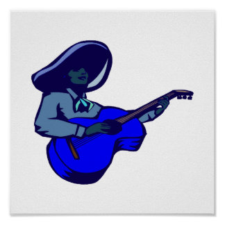 mexican guitar player blue blue.png print