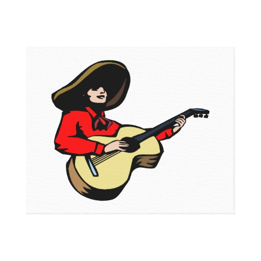 mexican guitar player red.png stretched canvas prints