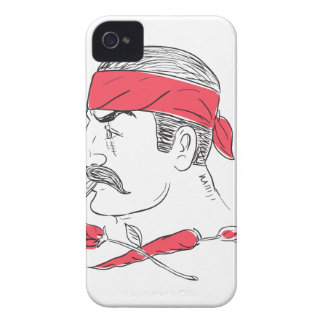 Mexican Guy Cigar Hot Chili Rose Drawing iPhone 4 Case-Mate Case