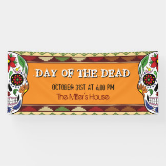 Mexican Halloween Day of the Dead Sugar Skull Banner