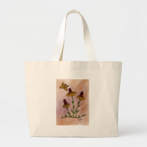 Mexican Hat Wildflowers with Butterfly Jumbo Tote Bag