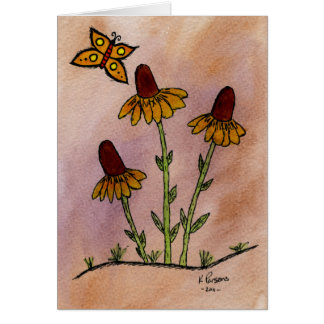 Mexican Hat Wildflowers with Butterfly Card