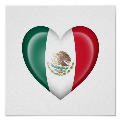 Mexican Heart Flag on White Poster