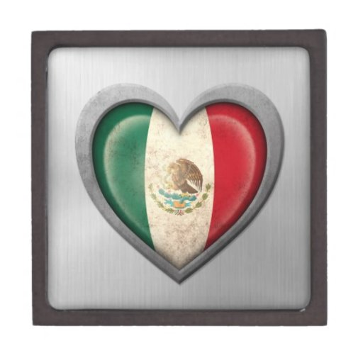 Mexican Heart Flag Stainless Steel Effect Premium Gift Boxes