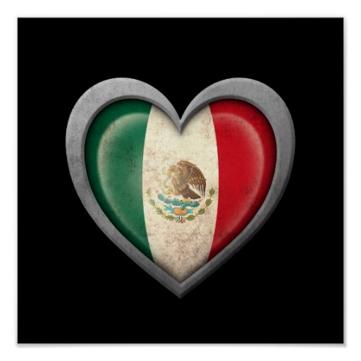 Mexican Heart Flag with Metal Effect Posters