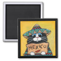 Mexican Hitchhiker Tuxedo Cat Magnet