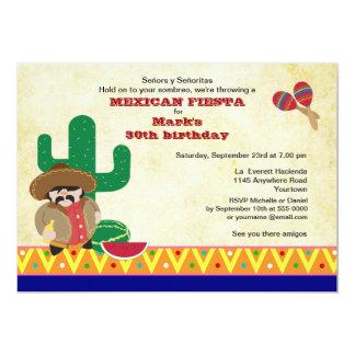 Mexican Hombre with Cactus Fiesta Birthday Invite