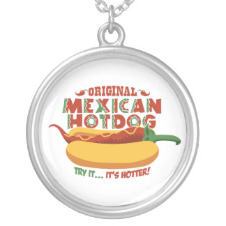 Mexican Hotdog Round Pendant Necklace
