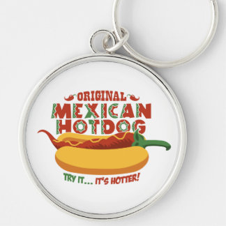 Mexican Hotdog Silver-Colored Round Keychain