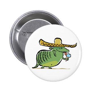 mexican ice cream loving armadillo pinback button
