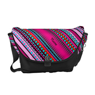 Mexican Inca Aztec Hot Pink Geometric Pattern Courier Bag