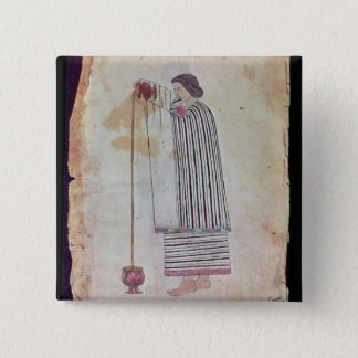 Mexican Indian Preparing Chocolate, from the Codex Pinback Button