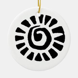 Mexican Indian Sun Ceramic Ornament