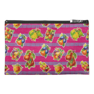 Mexican Inspired Oilcloth - Magenta Fruits Travel Accessory Bag