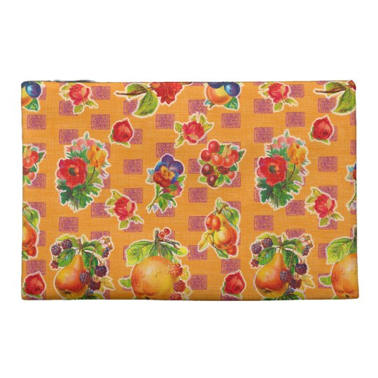 Mexican Inspired Oilcloth - Orange Fruit Flowers Travel Accessory Bag