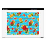 "Mexican Inspired Oilcloth - Turquoise Flowers 15"" Laptop Skin"