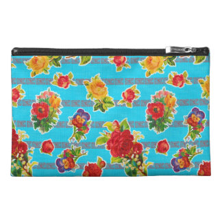 Mexican Inspired Oilcloth - Turquoise Flowers Travel Accessory Bag