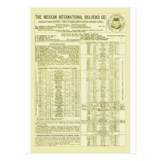 Mexican International Railroad Old 1897 Time Table Postcard
