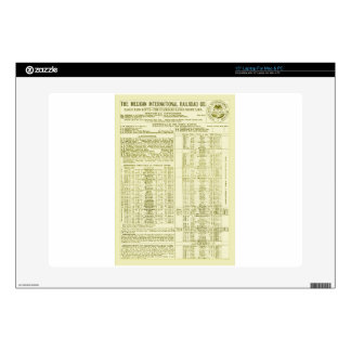 "Mexican International Railroad Old 1897 Time Table Skin For 15"" Laptop"