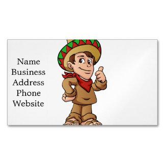 mexican kid cartoon. business card magnet