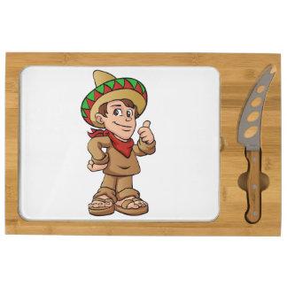 mexican kid cartoon. cheese platter