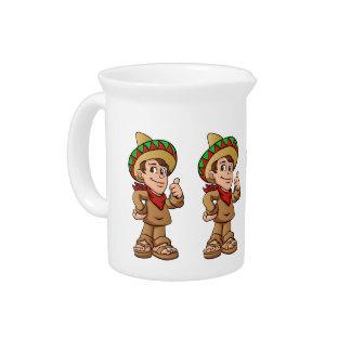 mexican kid cartoon. drink pitcher