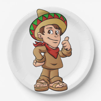 mexican kid cartoon. paper plate