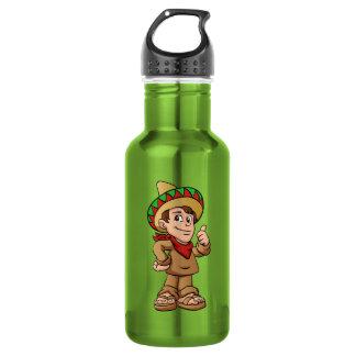 mexican kid cartoon. stainless steel water bottle