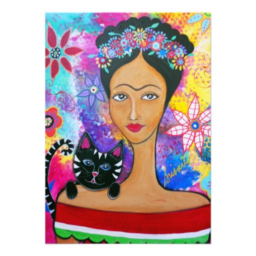 MEXICAN LADY AND HER CAT INVITATIONS CARD