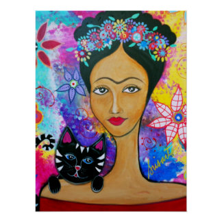 Mexican Lady and her Cat Poster