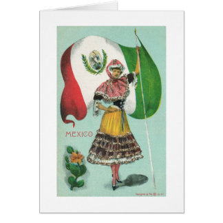Mexican Lady & Flag-Early 1900's Greeting Card