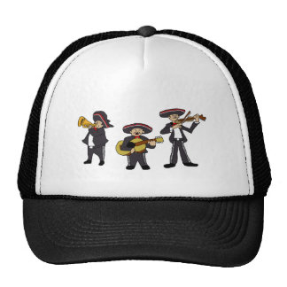 Mexican Mariachi Band Cartoon Illustration Trucker Hat