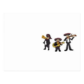 Mexican Mariachi Band Cartoon Illustration Postcard