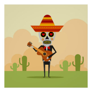 Mexican Mariachi Illustration Poster
