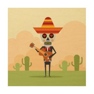 Mexican Mariachi Illustration Wood Wall Art
