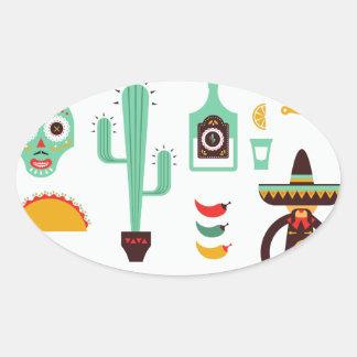 mexican mariachi oval sticker