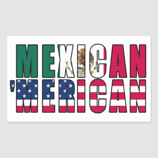 Mexican 'Merican Flags - Mexican American Rectangular Sticker