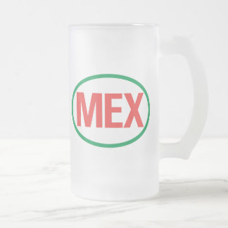 Mexican MEX 16 Oz Frosted Glass Beer Mug