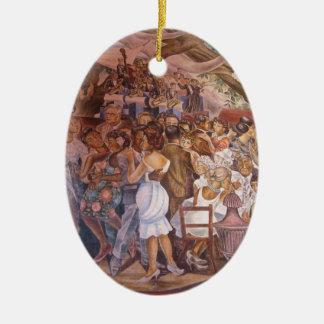 Mexican mural art Double-Sided oval ceramic christmas ornament