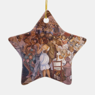 Mexican mural art Double-Sided star ceramic christmas ornament