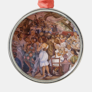 Mexican mural art round metal christmas ornament