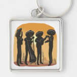 Mexican Music Silver-Colored Square Keychain