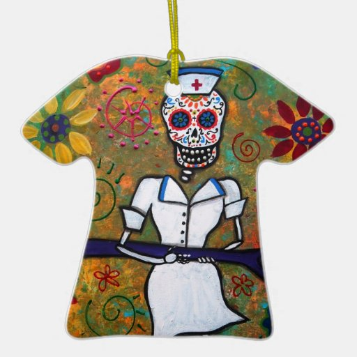Mexican NURSE Dia de los Muertos Ornament Ornaments