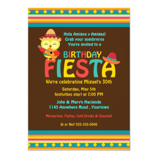 Mexican Owl Birthday Fiesta Card
