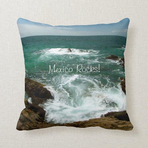 Mexican Pacific Surge; Mexico Souvenir Throw Pillow