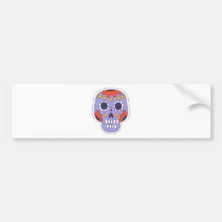 Mexican Painted Skull Bumper Sticker