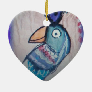 MEXICAN PARROT PAINTING CERAMIC ORNAMENT