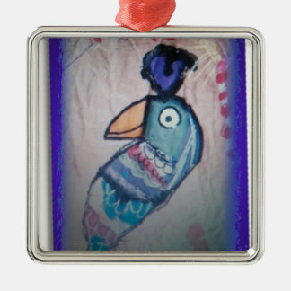 MEXICAN PARROT PAINTING METAL ORNAMENT